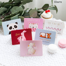 10sets Cute Cartoon Greeting Card Birthday Hot Stamping Creative Mini Thanks Christmas