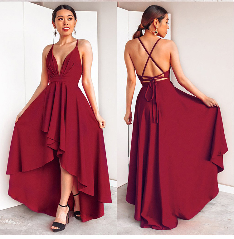 Women Sexy High Low Cross Back Cocktail Dresses Sexy Burgundy A-line Deep V-neck Spaghetti Straps Chiffon Short Formal Dresses