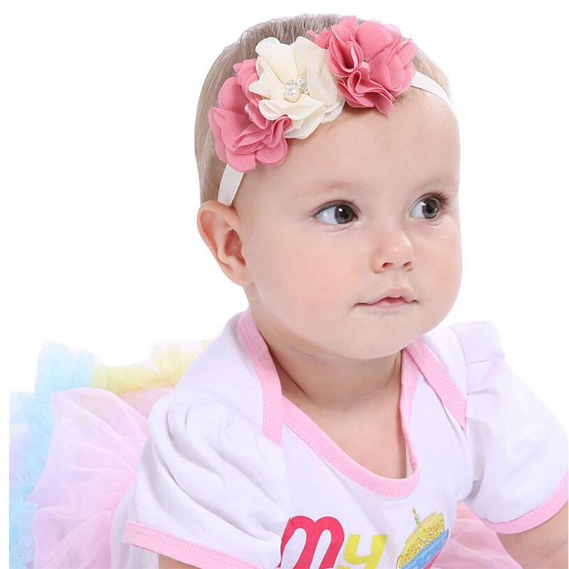 JRFSD 1Pcs Hot Sell Headband With 3 Flower Pearl Diamond Hair Bands Headbands for Girl Elastic Kids Hair Accessories