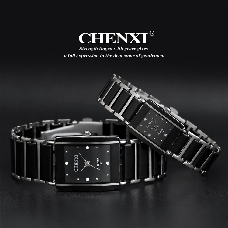 Newest Hot Sales Fashion High Quality Brand Chenxi Women Men Couples Leisure Watch Waterproof Square Ceramics Wristwatch CX-104