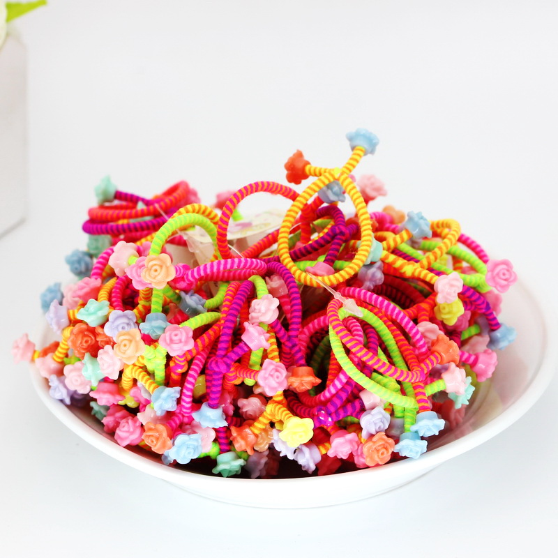 isnice 50pcs/lot tw Flower Headwear Rainbow Color Gum For Hair Rubber bands Small cute hair accessories gum girl ornaments
