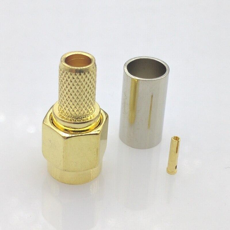 10 шт . RP-SMA Разъем RF SMA для кабеля 50-3 RG58 RG142 RG400 LMR195 RG223