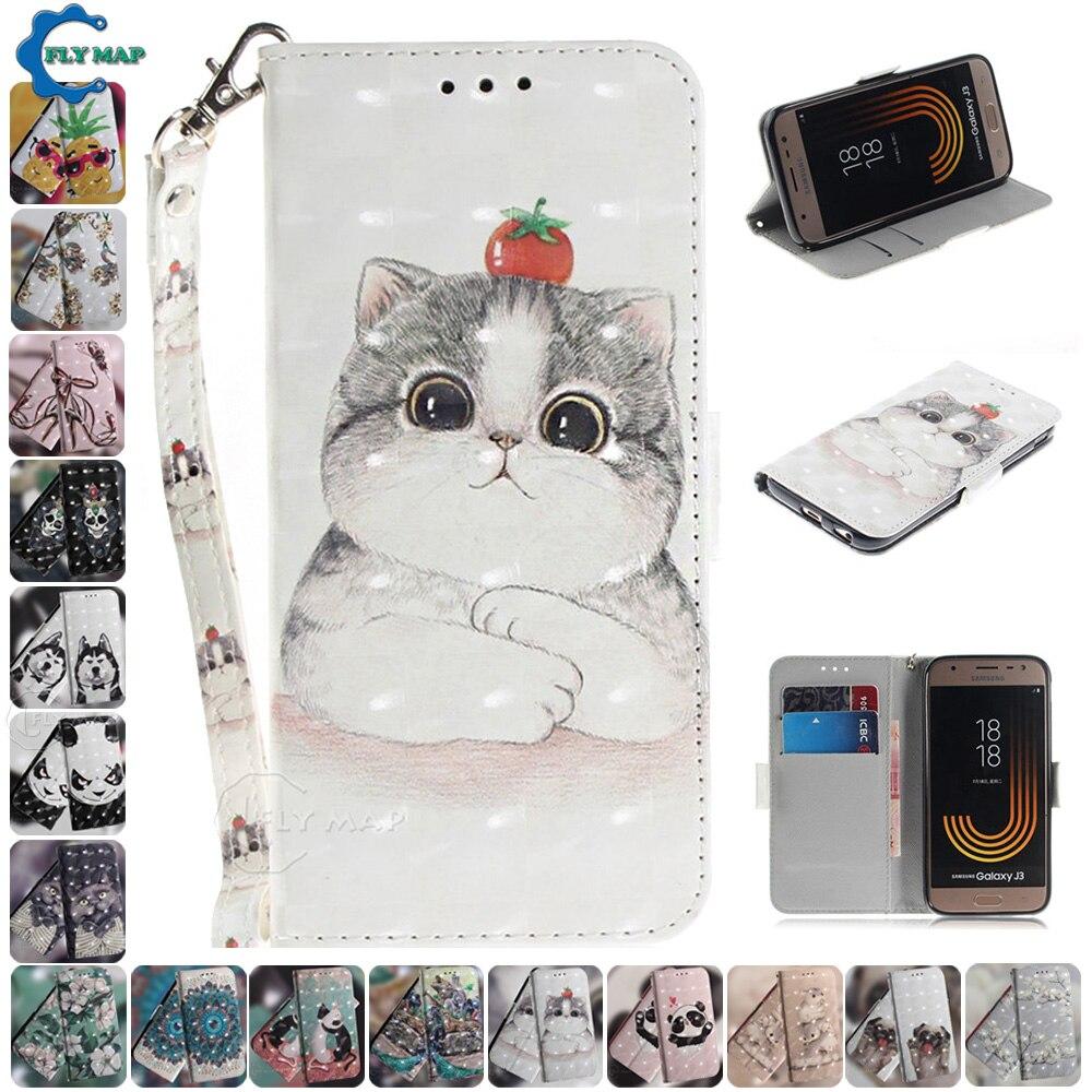 3D Flip Case for Samsung Galaxy J3 2017 SM J330 J330F Case Silicone Wallet Phone Leather Cover SM-J330FDS SM-J330FN SM-J330F