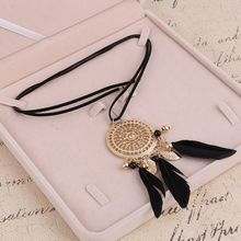 ZOSHI Elegant Feather Long Beaded Black Chain Tassel Necklaces For Women Office Accessory Bohemia Costumes Jewelry Bijoux(China)
