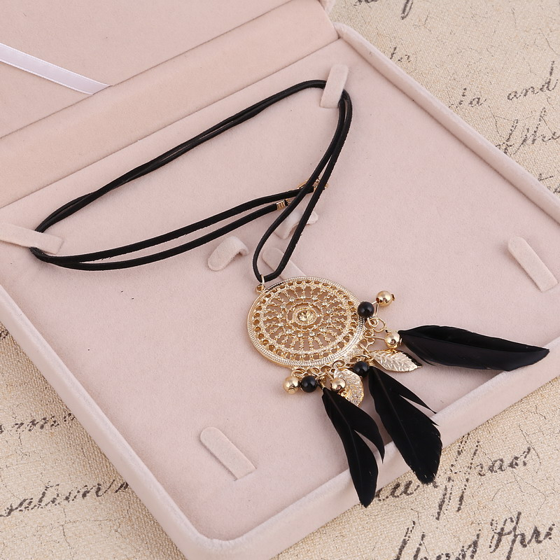 ZOSHI Elegant Feather Long Beaded Black Chain Tassel Necklaces For Women Office