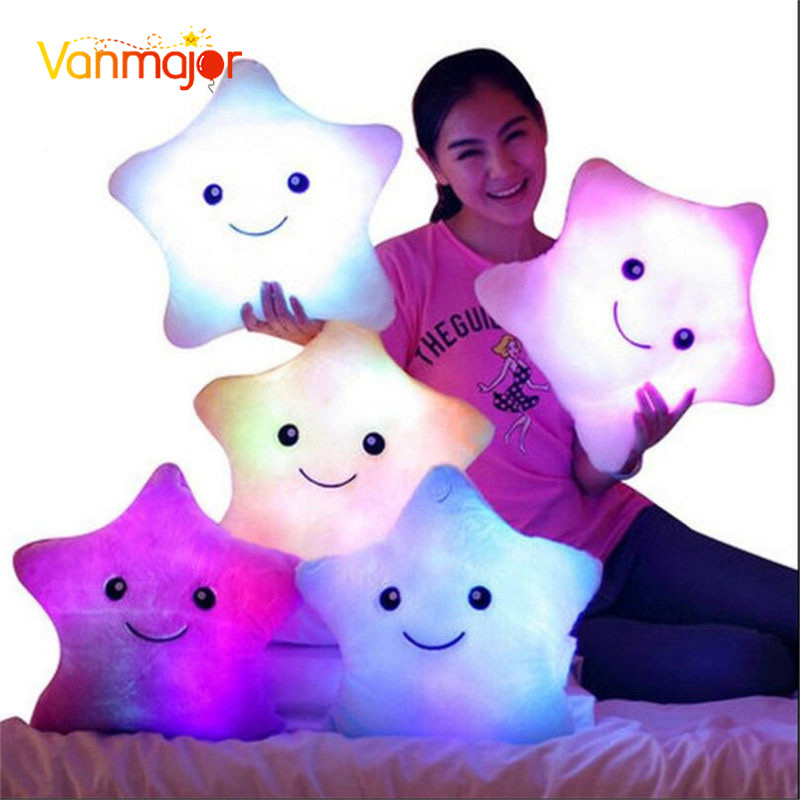 1PCS 38CM Led Light Pillow, Luminous Pillow Christmas Leker, Plysj Pute, Hot Colorful Stars, Barn Leker Fødselsdag Gift