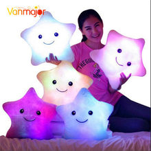 1 pçs 38cm led luz travesseiro, travesseiro luminoso brinquedos de natal, travesseiro de pelúcia, estrelas coloridas quentes, crianças brinquedos presente de aniversário
