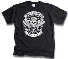 2019 New Fashion Summer Design Cotton Male Tee Designing Speed Junkies New Zealand Biker Skull Wings Pistons Patch Unique Shirt(China)