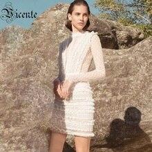 Vc 2020 뜨거운 새로운 세련된 도트 레이스 화이트 드레스 술 장식 스탠드 칼라 긴 민소매 연예인 파티 미니 드레스
