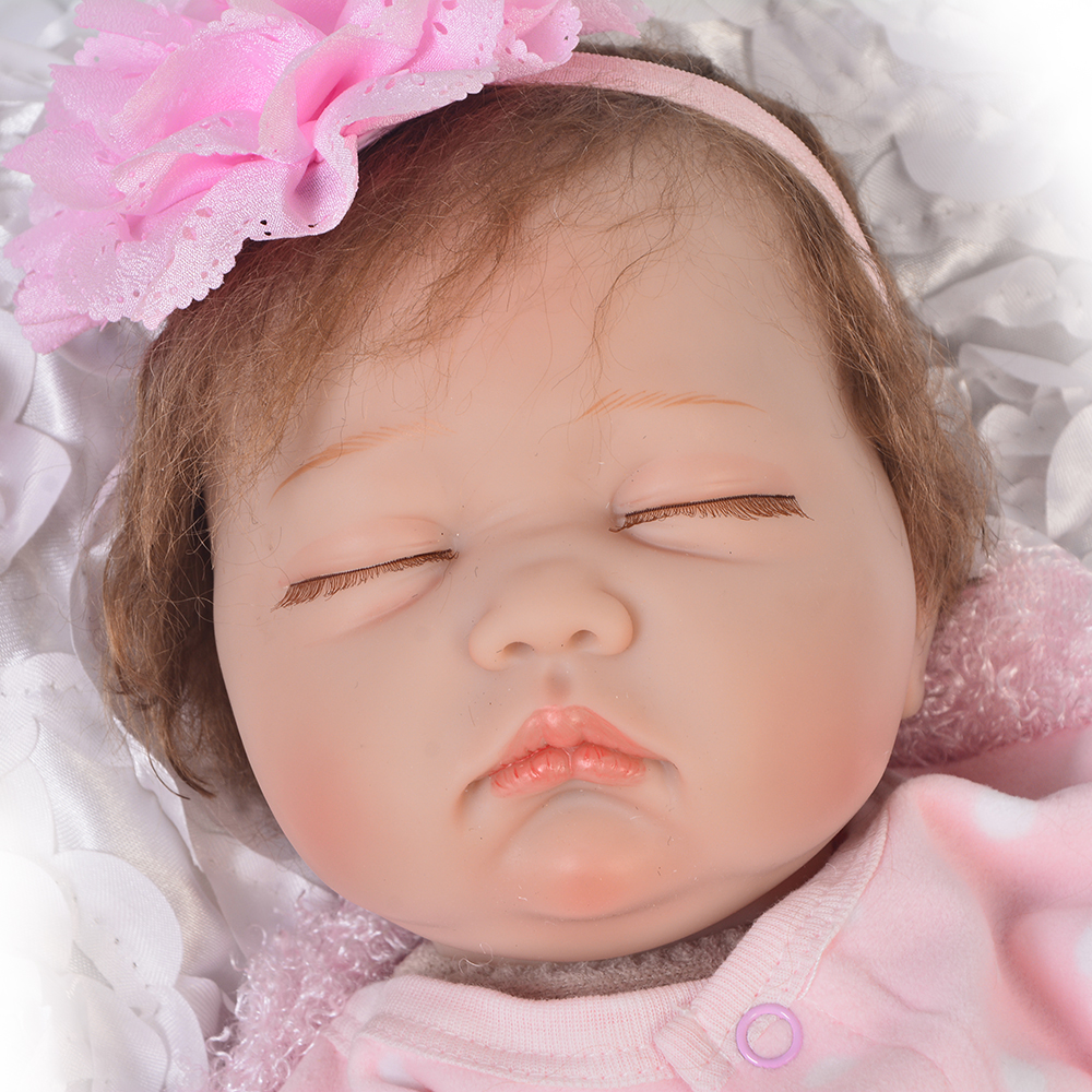 Keiumi 22 inch realistic sleeping reborn doll fat baby model doll toy for kids birthday xmas gifts free pink romper clothes in dolls from toys hobbies on