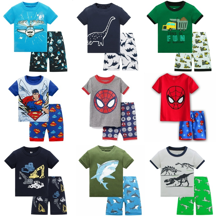 2020 Summer Pijamas Short Sleeve Batman 100%cotton Boys Sleepwear Train Kids  Pyjama Children Baby Boys Pajamas