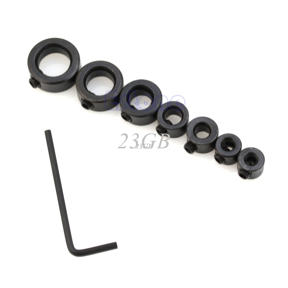 Drill Depth Stop Collars & Hex Wrench For Drill Bits Consistent Drilling 7PCS/SET A03_15