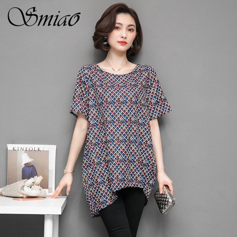 Smiao 2018 Summer T Shirt Women Plus Size Long Irregular Hem T-shirt O neck Temperament Short Sleeve Tops Casual Tees LooseM-5XL