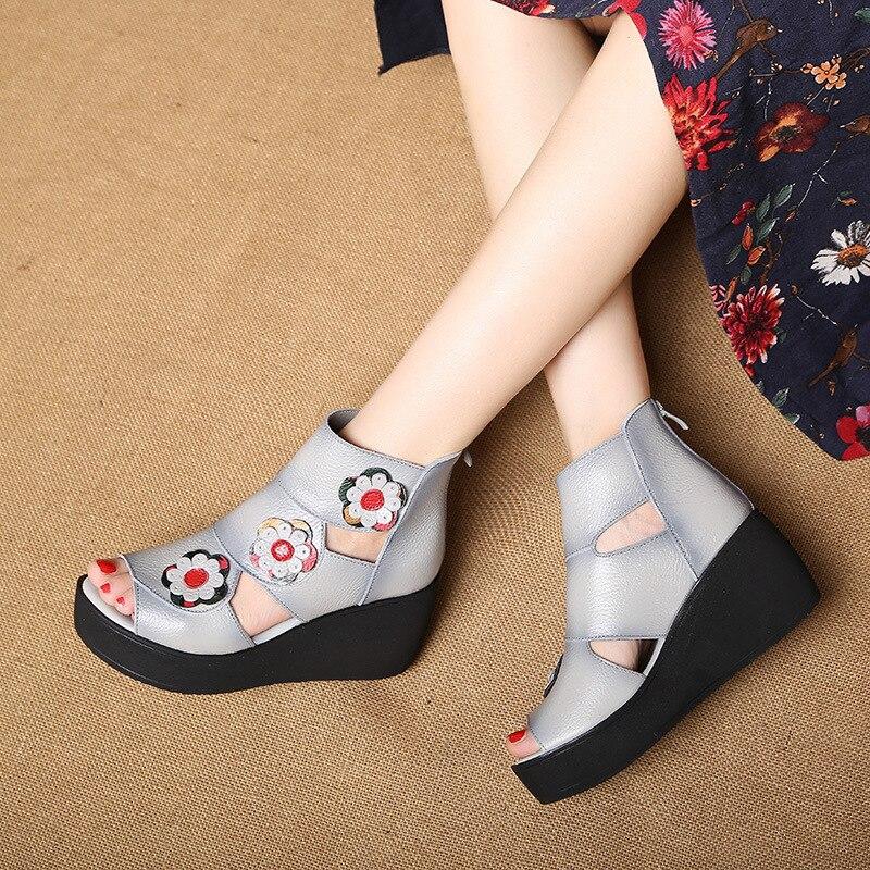 Cuir Chaussures gris Zipper Beach Casual Aa51708 rouge Vintage Noir Femmes Summer Fleurs Dames personnalisé En Folk Sandales Confortables PIwzRqa