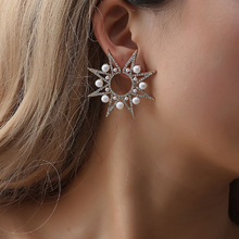 1Pc Sunflower Crystal Stud Earrings for Women Ears Geometric Exaggerated Ear Nail Ladies Party Jewelry