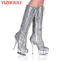 European and American 15CM crystal fine with high front lacing boots, grigley characteristic of the queen Dance Shoes