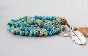 Image 4 - Women Boho Necklaces Natural Stone Antique Charm Beads Necklace Luxury Handmade Beaded Women Elegant Yoga Necklace
