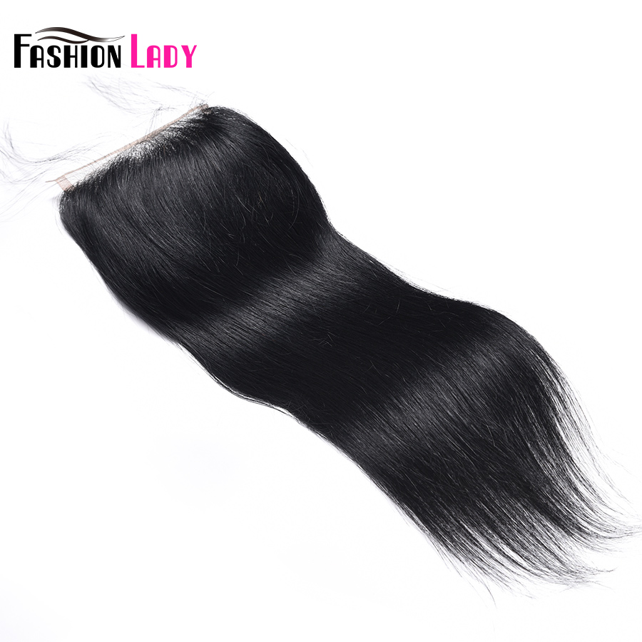 Fashion Lady Pre-Colored Peruvian Human Hair Lace Closure Straight Hair Size 4*4 Inch #1 Jet Black Closure Non-Remy