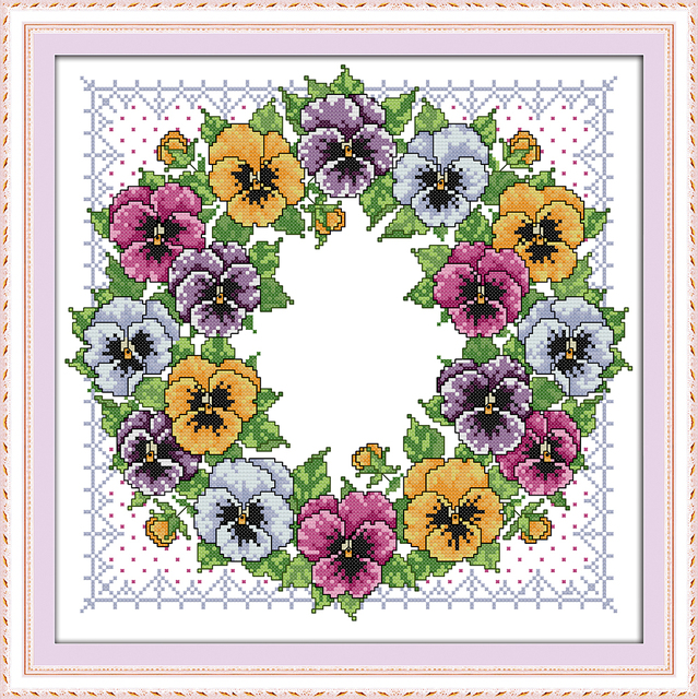 Pansy wreath cross stitch kit