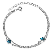 Simple Fashion Blue Crystal Star Bracelet Artificial Crystal Star Pentagram Bracelets Men Classic Chain Charms Bracelet For Wome fashion star decorated layered leather chain bracelet for men