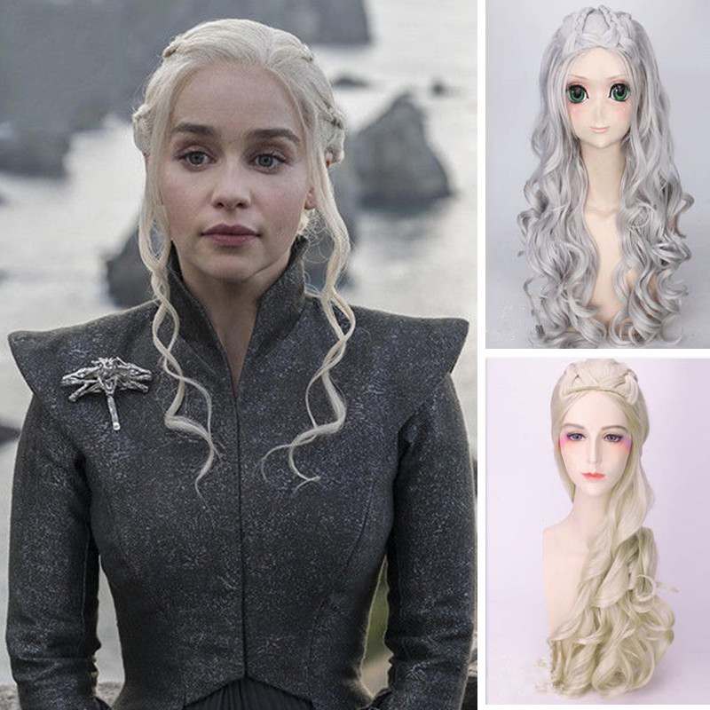 Game of Thrones Daenerys Targaryen Cosplay Wig Women Girls Long Straight Fluffy Hair Wig Mother of Dragons Role Playing Wig New gorros femininos