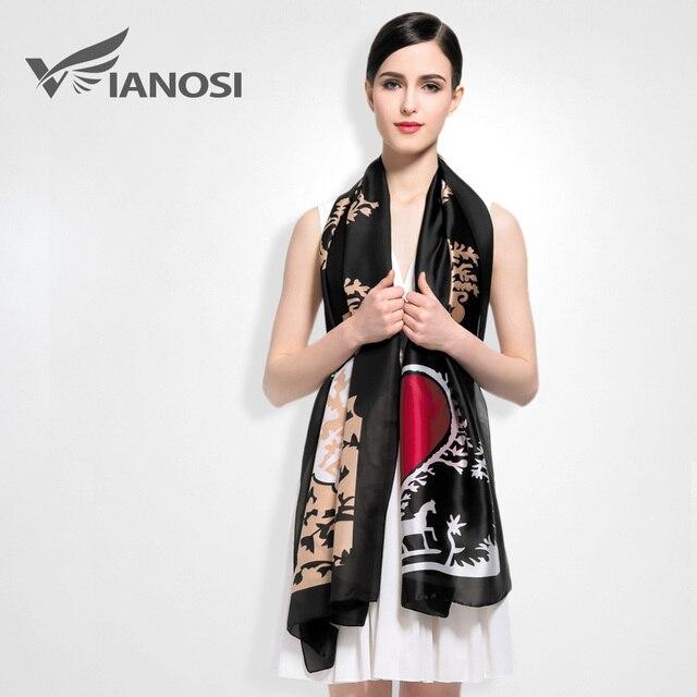 [VIANOSI] Silk Scarf Women Fashion Designer Brand Scarves Casual Shawls Sjaal Print Foulards Femme Luxury VA008