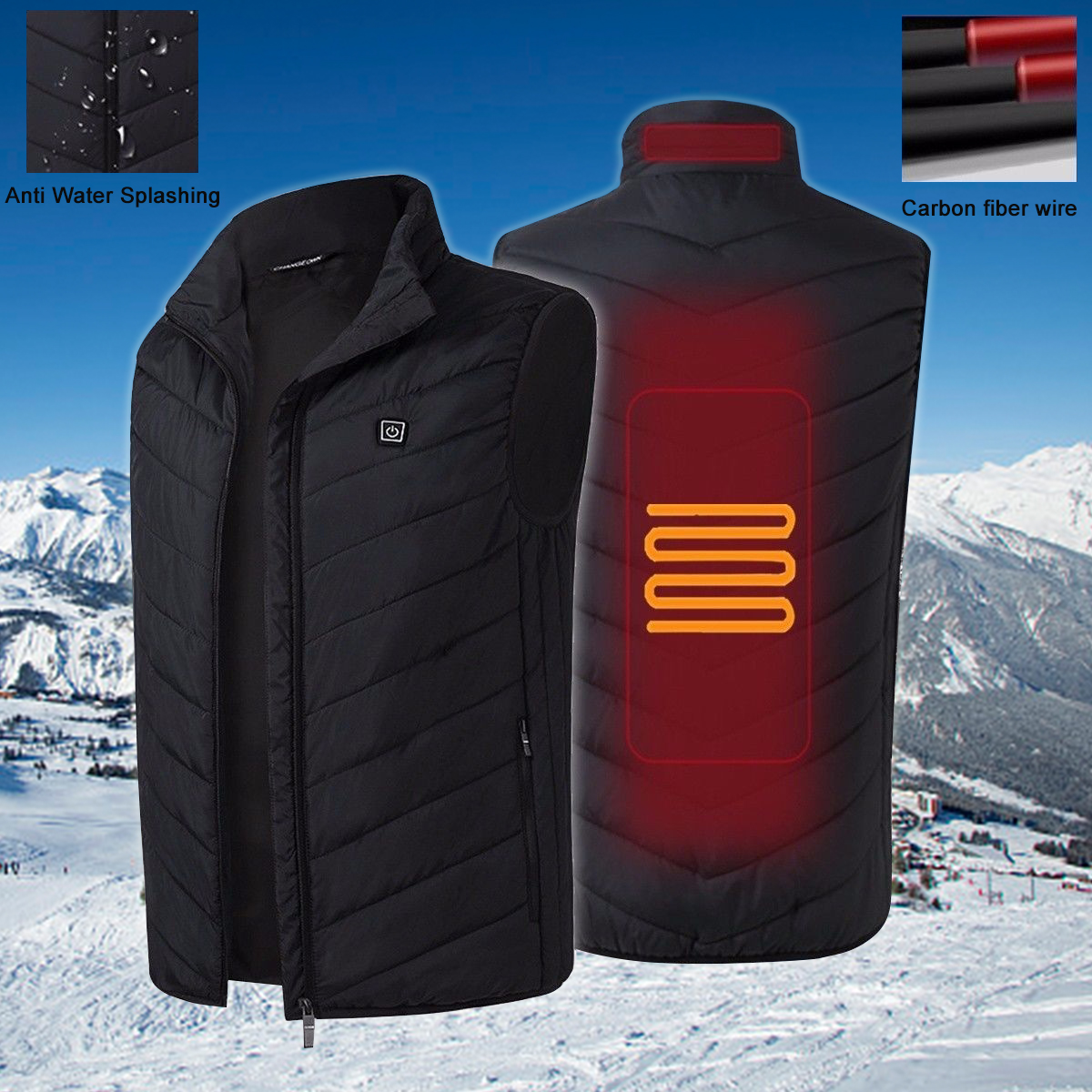 Safely USB Electric Heated Vest For Man Women WInter Vest Thermal Waistcoat Outdoor Sports Sleeveless Jacket Charging Vest Cloth