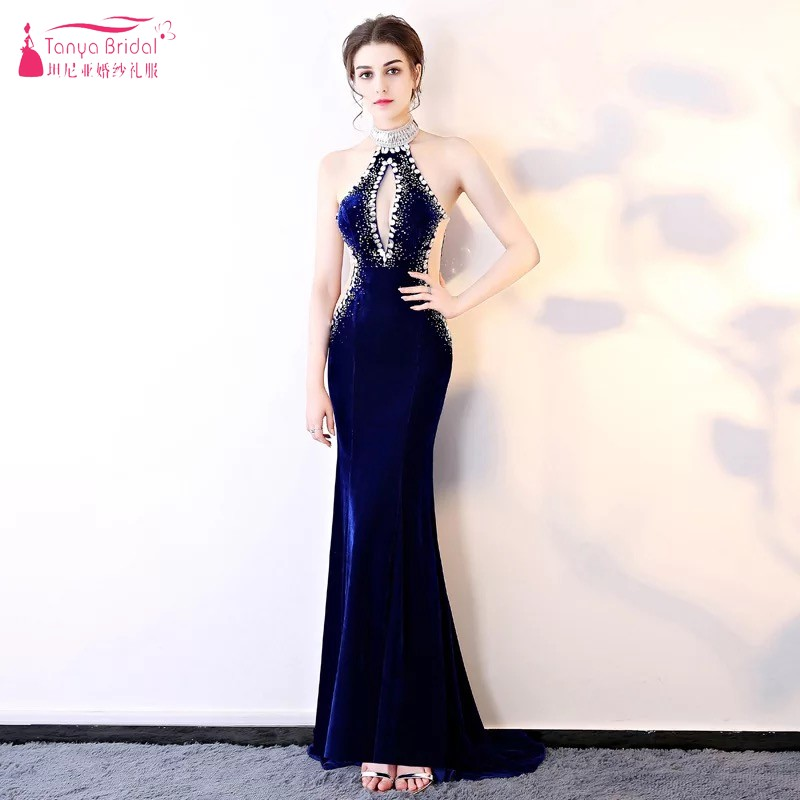 Navy Blue Formal Mermaid Evening Dresses Velour Backless Crystal Diamond Sexy Lady Women Gown Robe De Soiree Dqg420 Vivid And Great In Style Weddings & Events