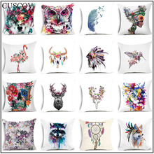 New animal colorful polyester print pillow cases home fashion sofa seat cushion cover square 45*45CM comfortable pillow cover animal print pillow cover