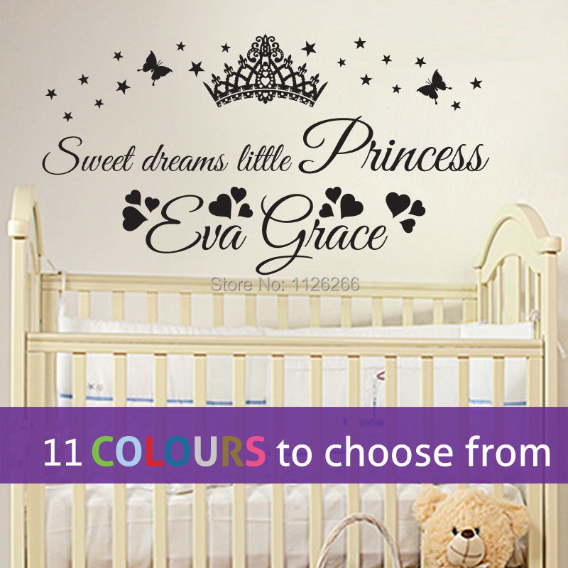 personalised sweet dreams little princess custom name baby girl wall