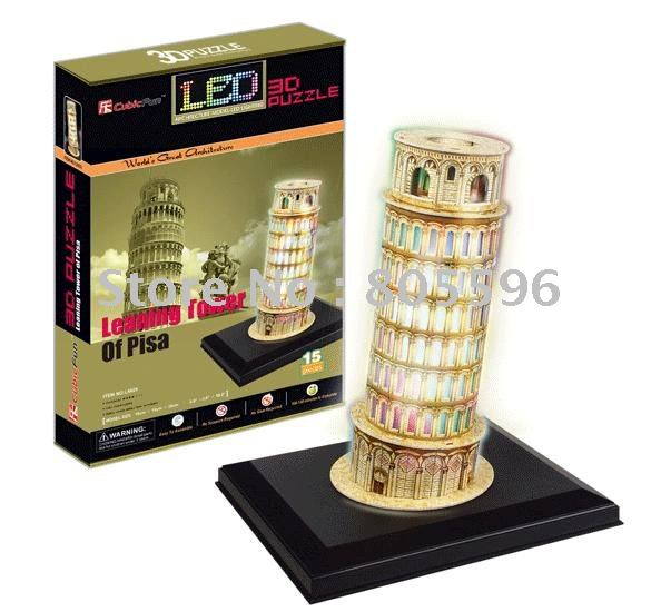 (Paper model)LED Light Building,3D DIY Models,Home Adornment,Puzzle Toy,Paper model,Papercraft,Card model, LEANING TOWER OF PISA series s 3d puzzle paper diy papercraft double decker bus eiffel tower titanic tower bridge empire state building