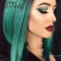 Бразильский Прямые волосы зеленый конец человеческих волос 3 связки реми волосы ombre переплетения 2 тон ombre зеленый пучки ХАННЕ Красочные волос
