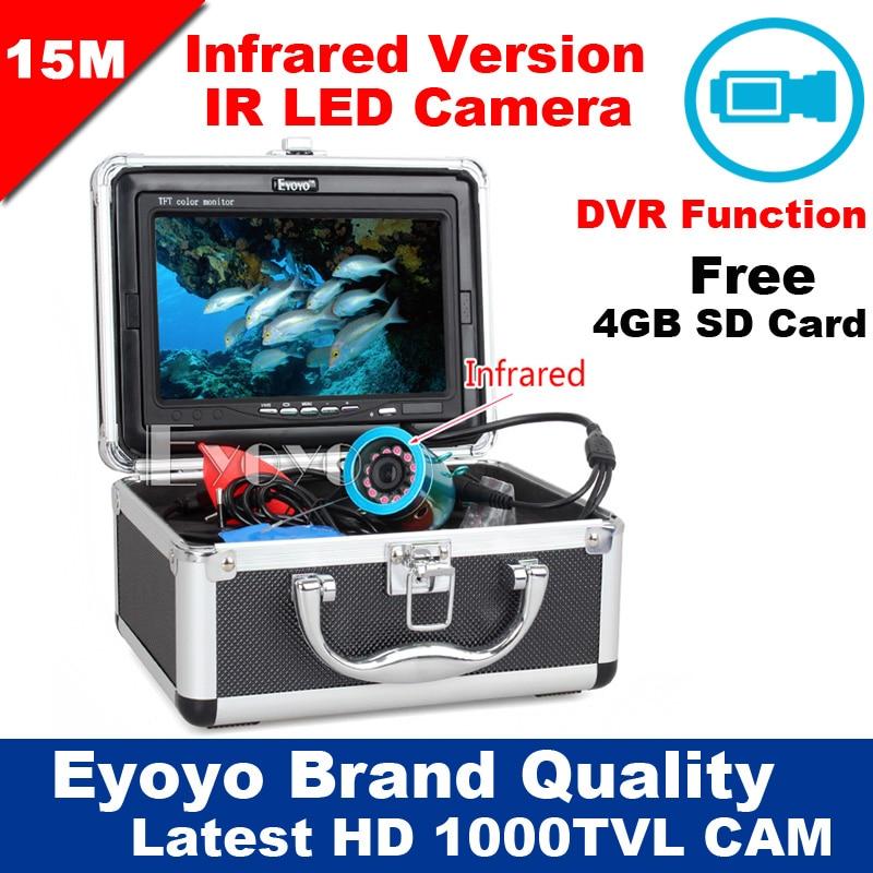 Eyoyo D'origine 15 M 1000TVL HD CAM Professional Fish Finder Sous-Marine De Pêche Vidéo Enregistreur DVR 7 w/Infrarouge IR LED lumières