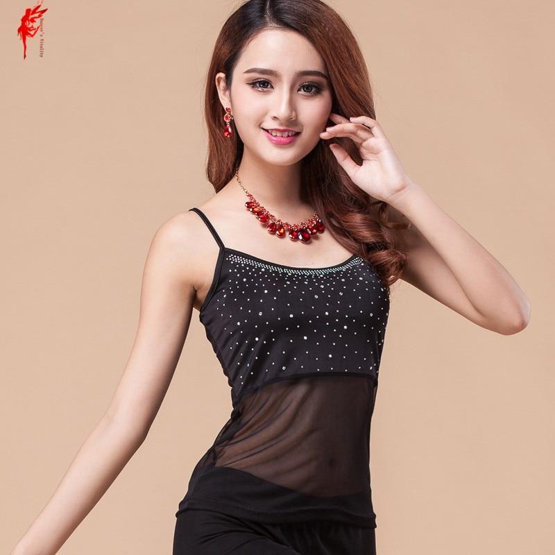 Wholesale T-shirt Ice Silk Stones Dance Top Girls Dance Clothes Top&tees Women Fashion Tops