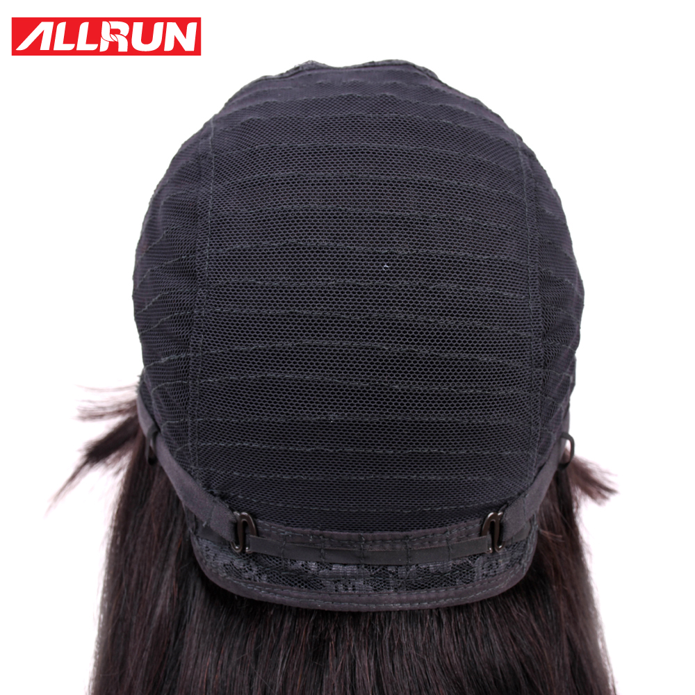 Human Hair Lace Wigs Allrun Brazilian Non Remy Ocean Wave Human Hair Wigs With Adjustable Bangs Human Hair Wigs Full Machine Natural Color Lace Wigs