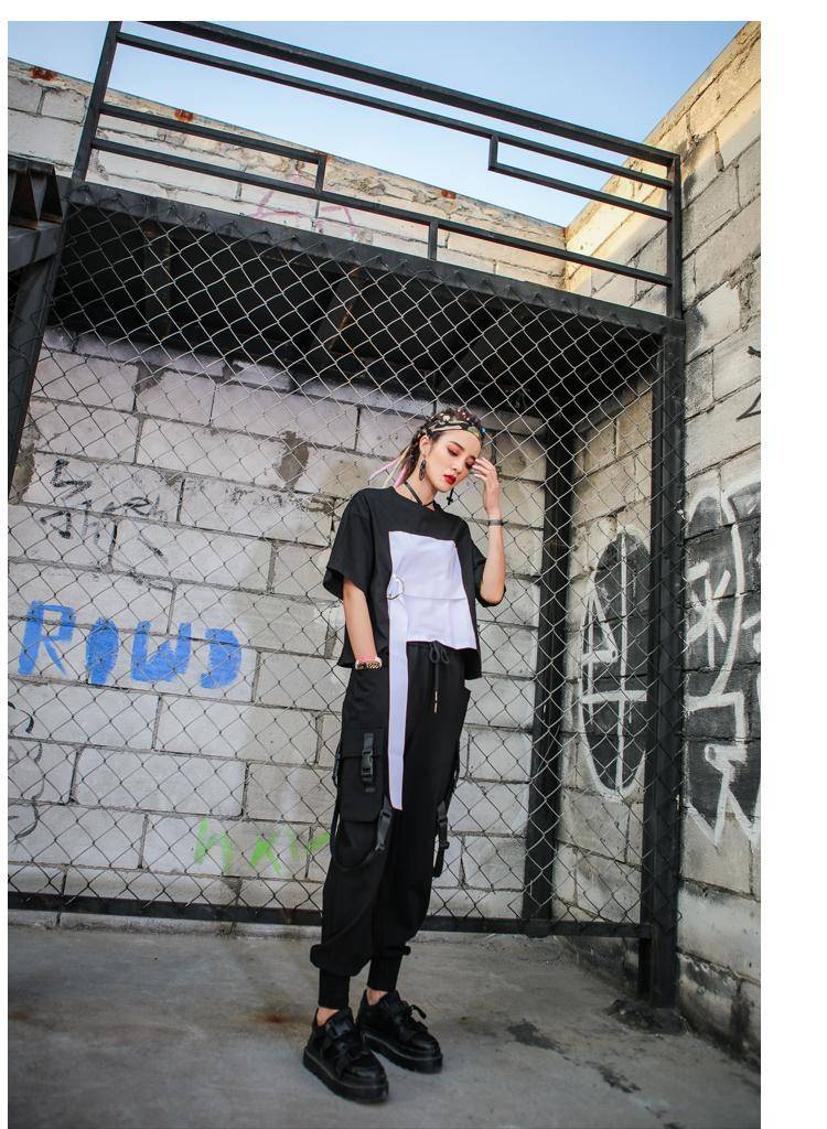 Black High Waist Cargo Pants Women Pockets Patchwork Casual Funny Loose Streetwear Pencil Pants Fashion Hip Hop Women Trousers 6
