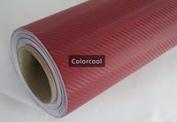Dark Red 3D carbon fiber vinyl film car sticker for automobile and electronics with Air Bubble Free For Car Wrap