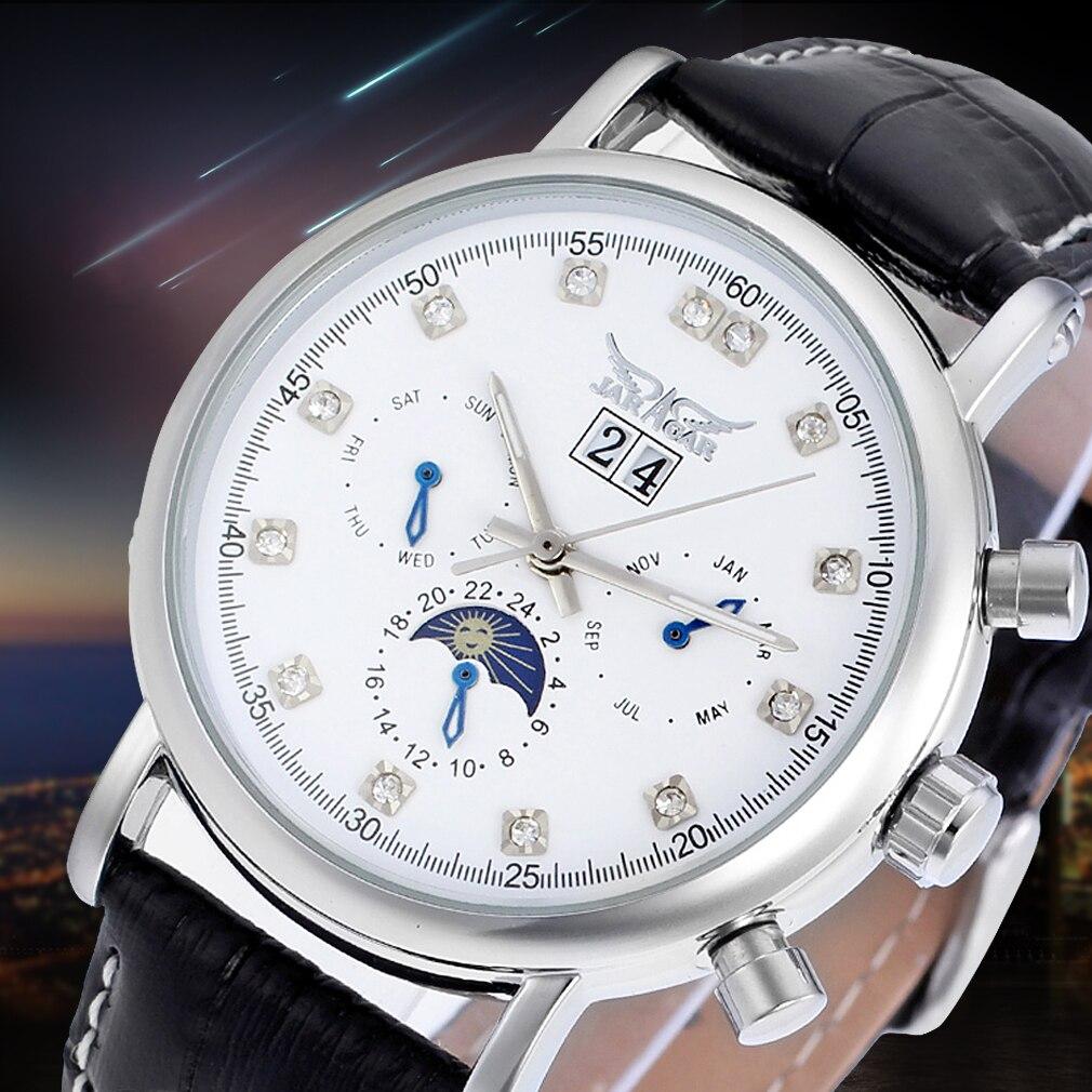Jargar Automatic Silver Color Men Wristwatch Tourbillon Black Leather Strap все цены