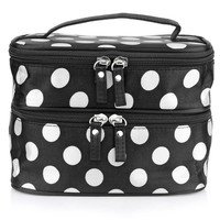 ARESLAND Cute Fashion Ladies Travel Cosmetic Bag Case Two Layer Big Dot Cosmetic Makeup Cases Box Make Up Bag White Dots