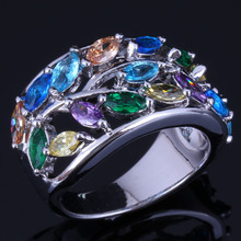 Divine Tree Multigem Multicolor Brown Cubic Zirconia 925 Sterling Silver Ring For Women V1061