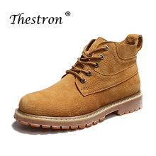 New Boots for Men Yellow Gray Work Boots Male Comfortable Mens Motorcycle Boots Wearable Rubber Sole Fashion Mens Shoes(China)