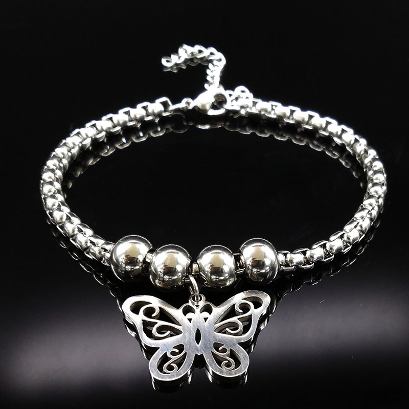 Butterfly Silver Color Stainless Steel Bracelets Bangles for Women 2018 Silver Color Bracelet Jewelry bijuteria BB1111D