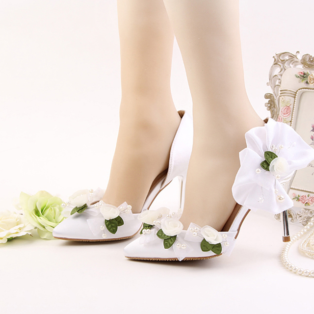 eaec90cafa 2017 Newest Designer Pointed Toe 9cm High Heels Green With White Lace  Flower Pearl Decoration Stiletto Party Prom Bridal Wedding-in Women's Pumps  from ...