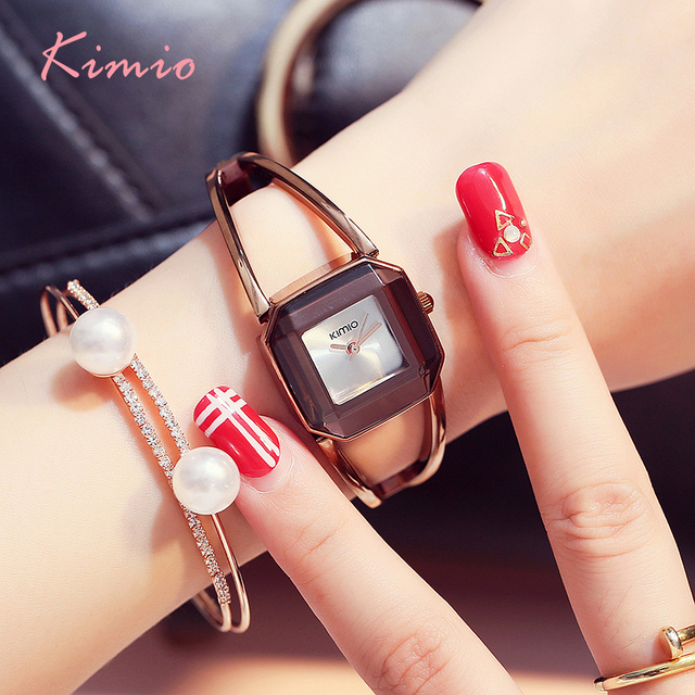 KIMIO Brand Luxury Women's Quartz  Watches Waterproof Stainless Steel Hollow Square Bracelet Ladies Watches montre femme