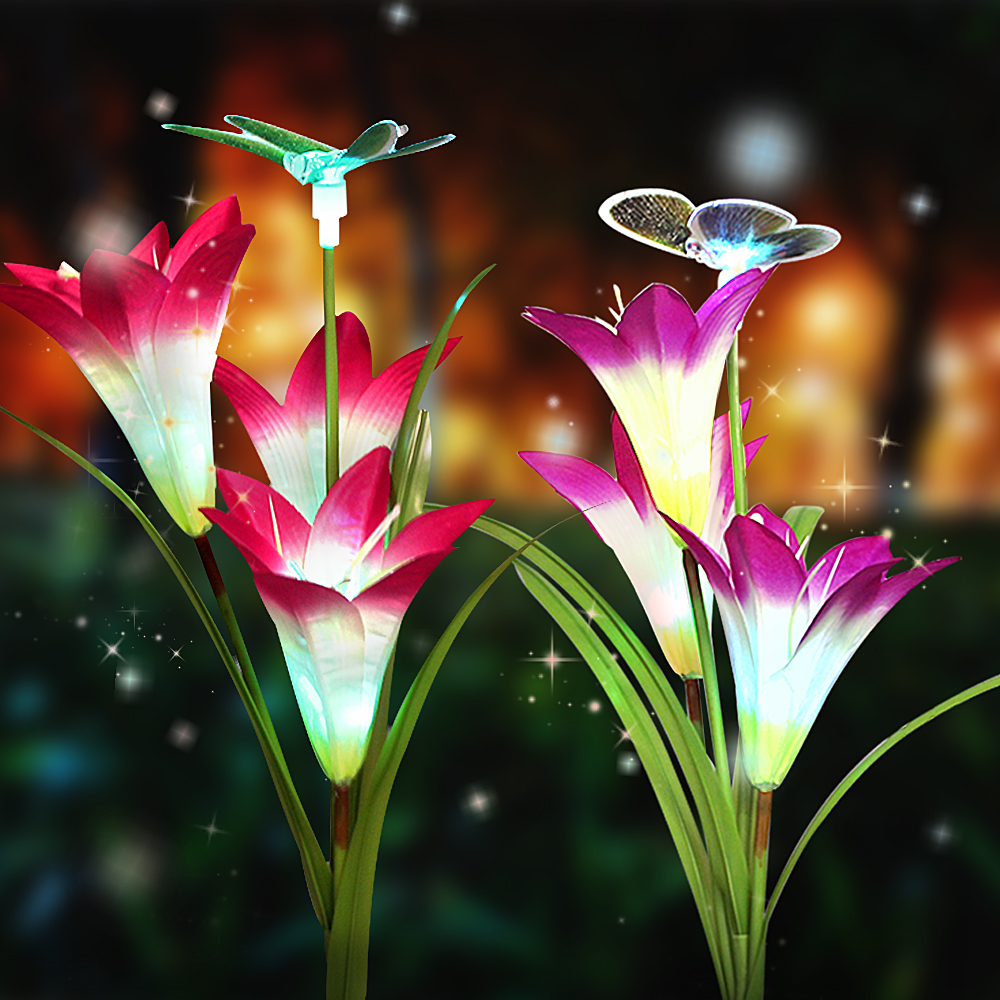 2 Pack Solar LED Fairy Lights Decoration Birthday Wedding Party Christmas Lights Outdoor Waterproof Lily Flower 7 Colours Change