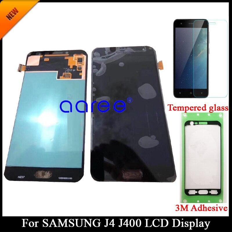 Testado super amoled display lcd para samsung j4 j400f lcd para samsung j4 j400f/ds display touch screen digitador assembléia