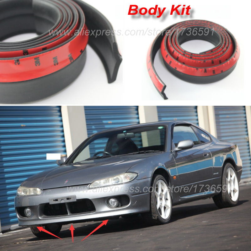 Lyudmila For Nissan Silvia S13 S14 S15 200SX 240SX Front Lip Deflector Lips Skirt / Body Chassis Side Protection / Spoiler Lip