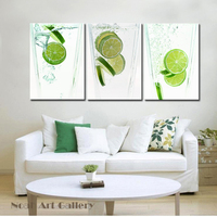 Fresh Green Lemon Modern Canvas Fruits Painting Picture Art Photo Print For Kitchen Room Wall Decorative