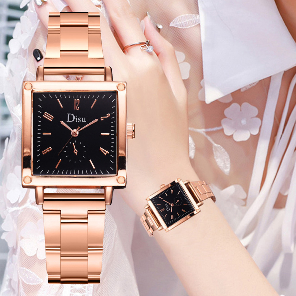 DISU Fashion Women Watch Luxury Brand Metal Steel Strip Square Simple Ladies Quartz WristWatches Clock Gift Bayan Kol Saati #B