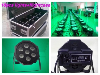 Flightcase + 10 pçs/lote, led par 7x4 w rgbw/rgba pode luz mini luzes do palco dj disco club bar rgbw led par64 baratos da china